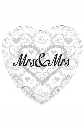 "18"" Heart Shaped Mrs & Mrs Foil Balloon"