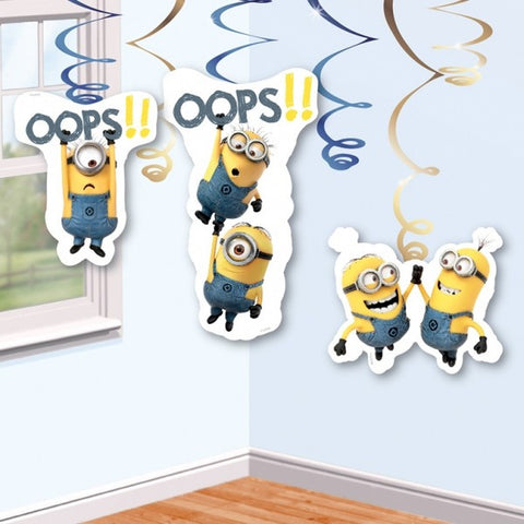 Minions Movie Hanging Swirl Decorations - pack of 6