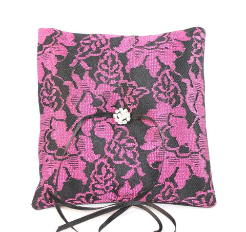 Gothic Wedding Ring Pillow - Cerise