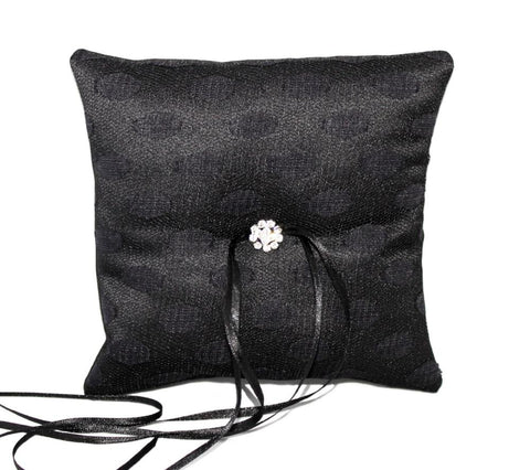 Gothic Wedding Ring Pillow – Black Lace