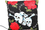 Gothic Wedding Ring Pillow – Large Skulls