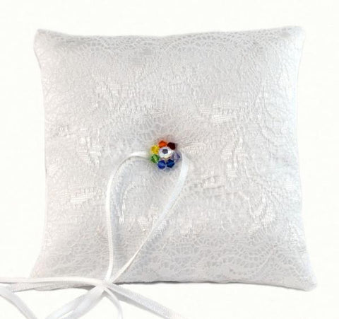 """Pride"" Wedding White Lace Rainbow Ring Pillow"