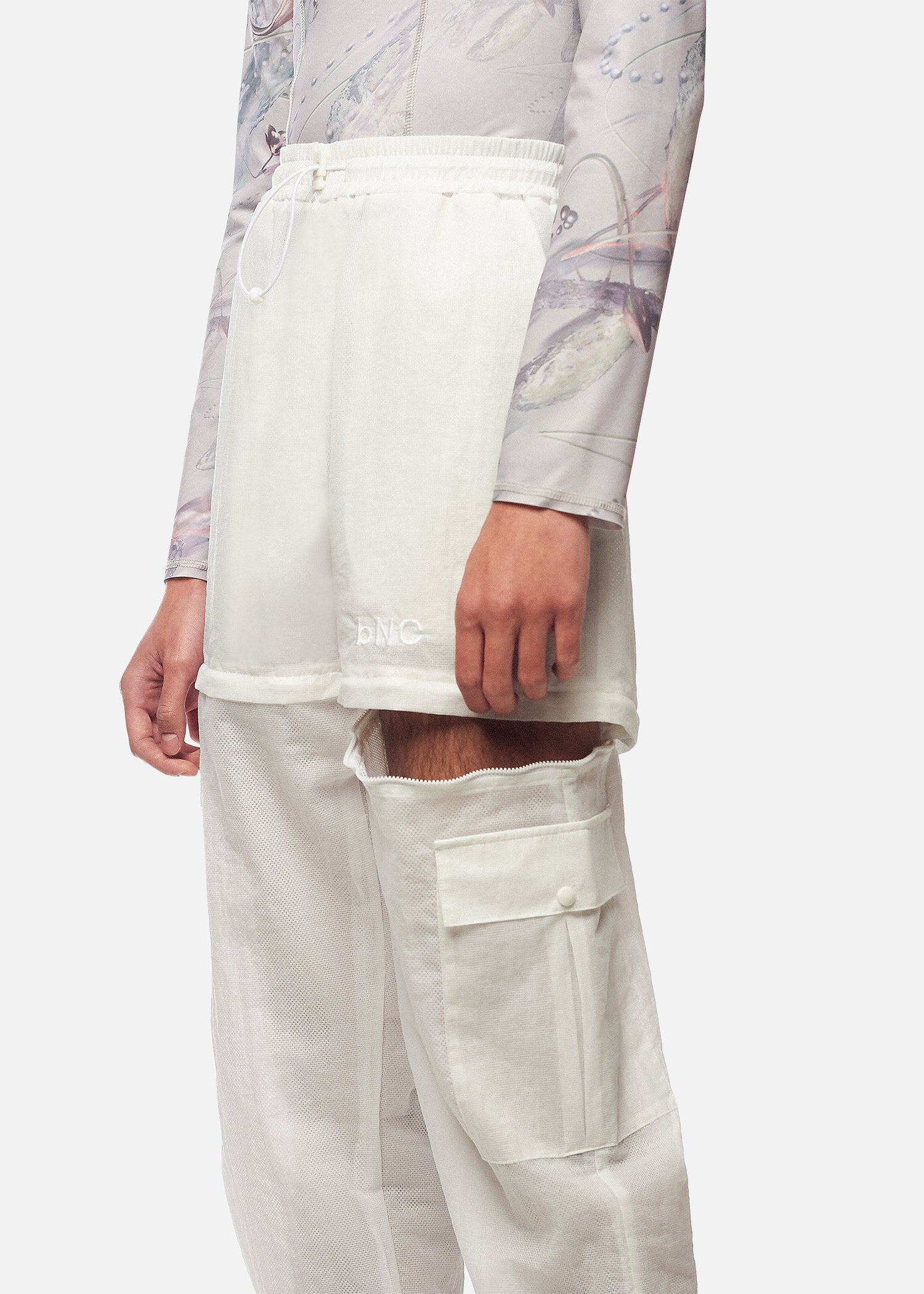 PAUL WHITE NYLON TROUSERS