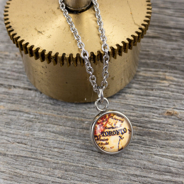 Vintage Toronto  Map Necklace - Lisa Young Design