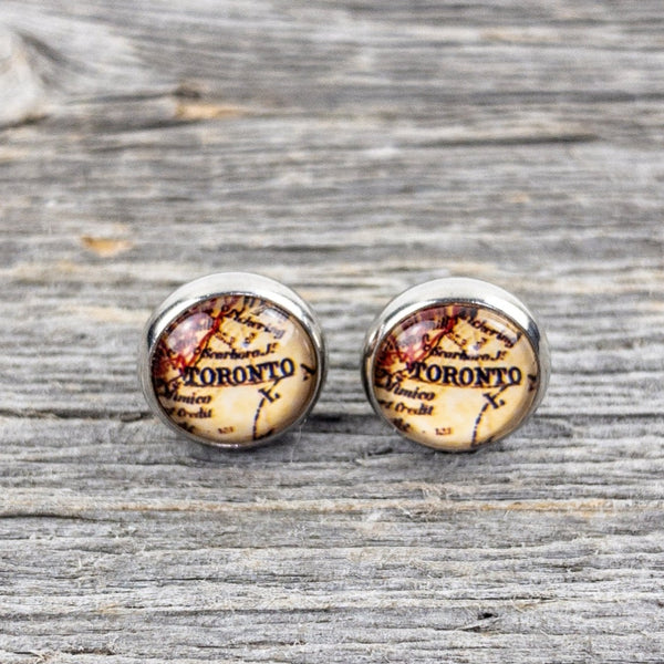 Vintage Toronto Map Stud Earrings 10mm - Lisa Young Design