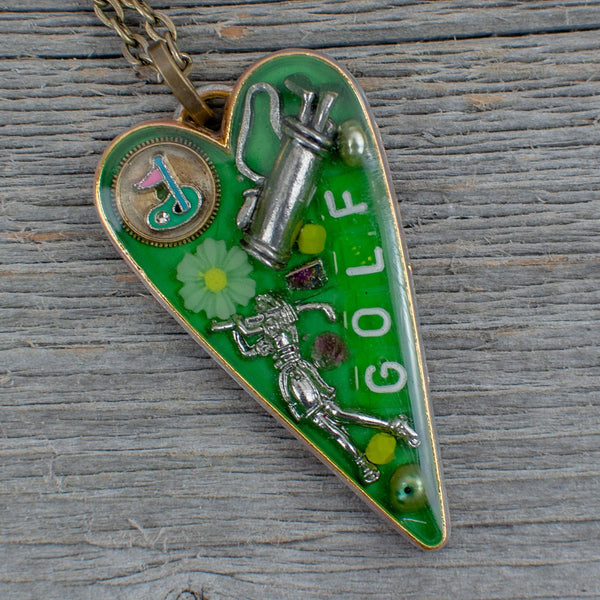Golf theme necklace Long heart - Lisa Young Design