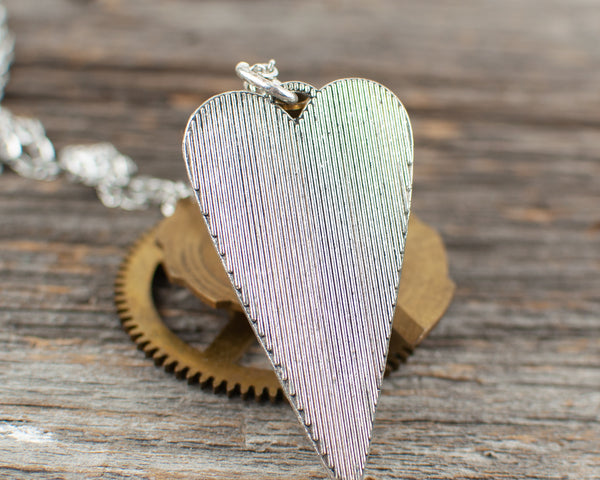Travel theme long heart Necklace - Lisa Young Design