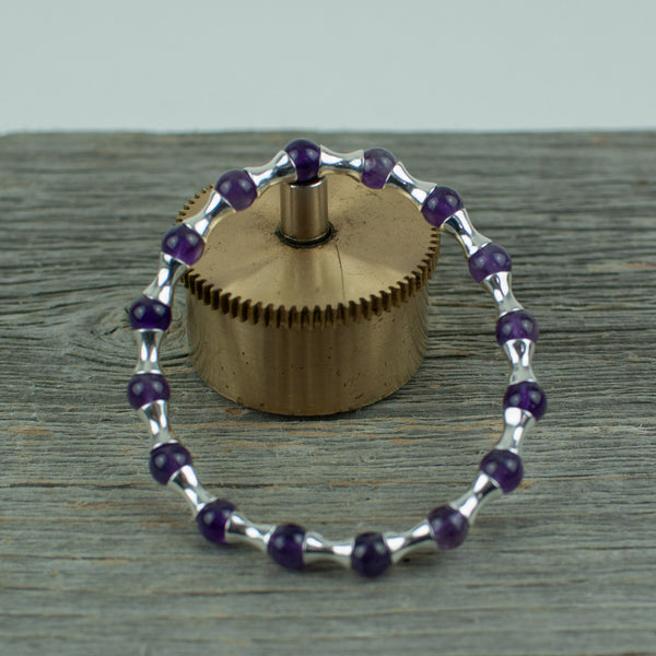 Amethyst and Sterling silver Bead Bracelet