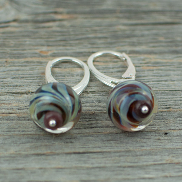 Mahogany striped borosilicate glass and silver earrings