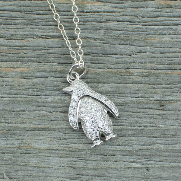 Crystal penguin charm  Silver Necklace - Lisa Young Design