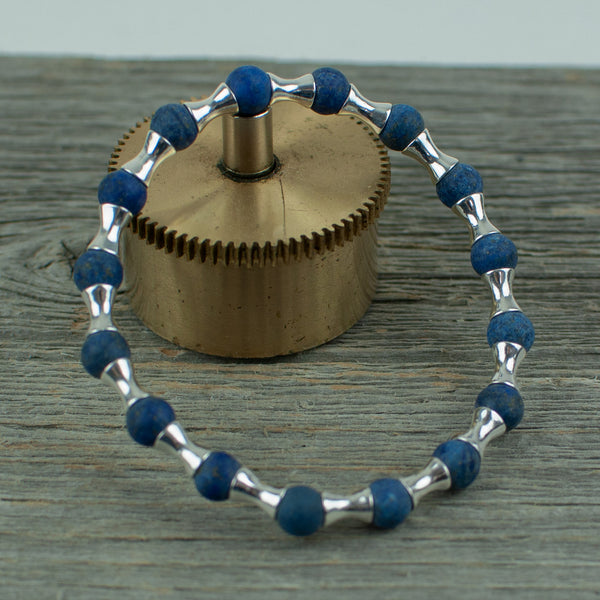 Frosted Lapis Lazuli and Sterling silver Bead Bracelet