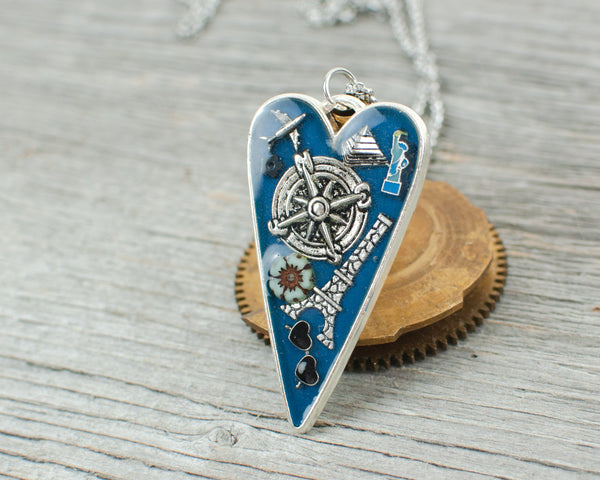 Travel theme long heart Necklace
