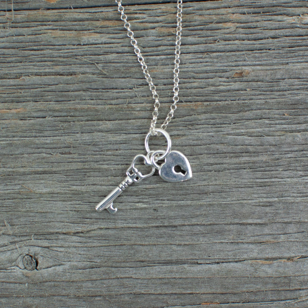 Key and heart  charm  Silver Necklace - Lisa Young Design