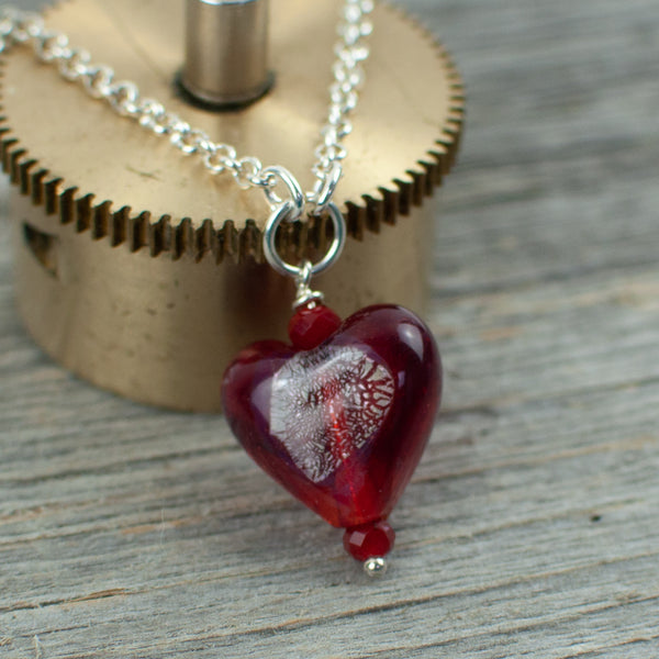 Red Borosilicate Heart Necklace