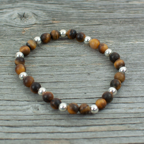 Sterling Silver and Frosted Tigers Eye Bead Bracelet - Lisa Young Design
