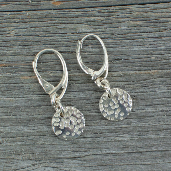 Silver Art Clay Small Round textured earrings - Lisa Young Design