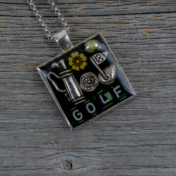 Golf theme necklace - square - Lisa Young Design