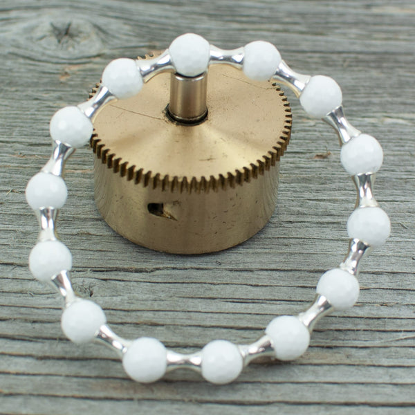 Golf ball Bracelet in Sterling Silver and  White Agate