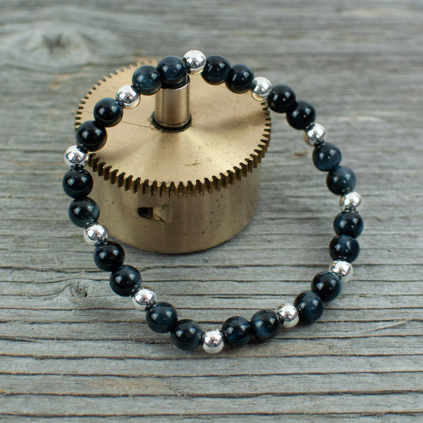 Sterling Silver and Navy Blue Tigers Eye  Bead Bracelet - Lisa Young Design