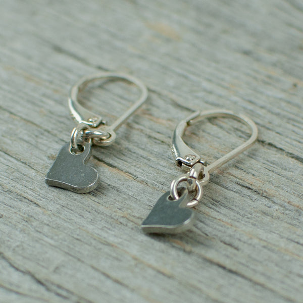 Stainless steel heart earrings with sterling silver hooks