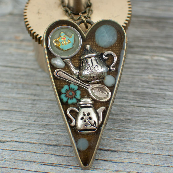 Tea lovers theme long heart Necklace
