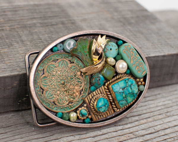 Turquoise Oval Belt Buckle - Lisa Young Design
