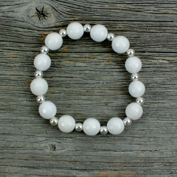 Sterling Silver and Large White Agate Bead Bracelet- Golf ball Bracelet - Lisa Young Design