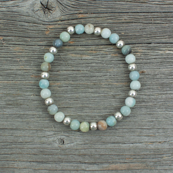 Sterling Silver and Amazonite Bead Bracelet - Lisa Young Design