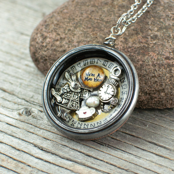 Mad hatters Tea party theme pocket watch necklace