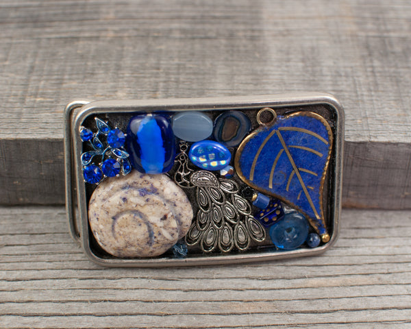 Blue peacock theme Belt Buckle - Lisa Young Design