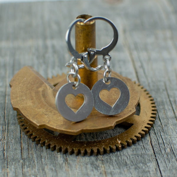 Stainless steel circle heart earrings - Lisa Young Design