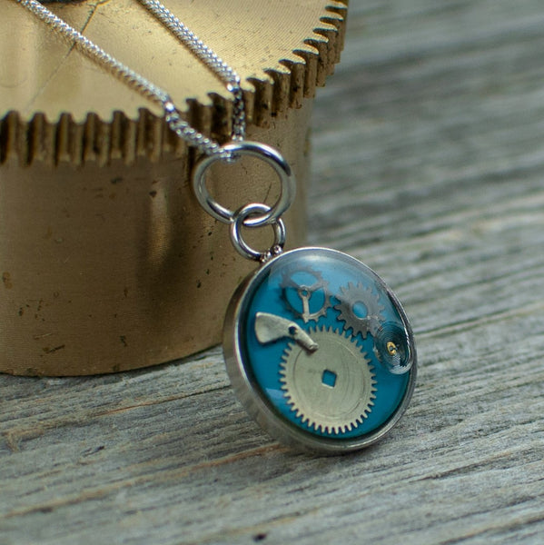 Blue Micro watch gear Necklace