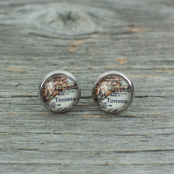 Toronto Map Stud Earrings 10mm - Lisa Young Design