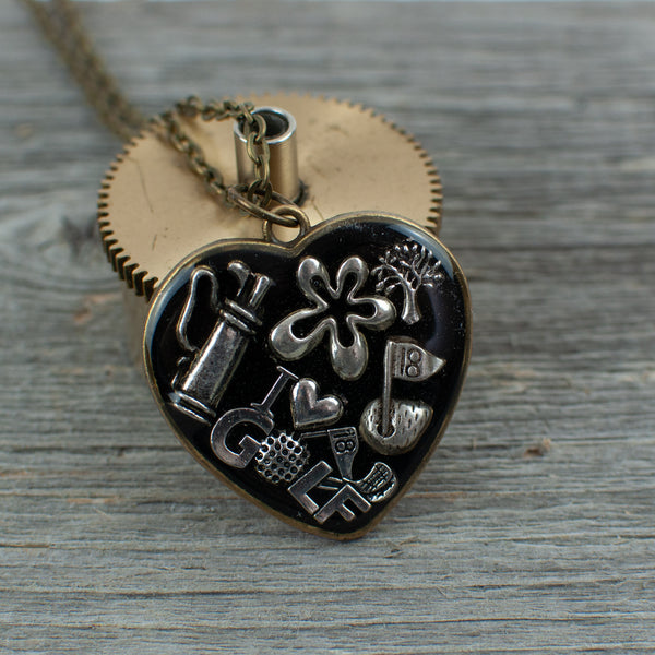Golf theme necklace - heart - Lisa Young Design