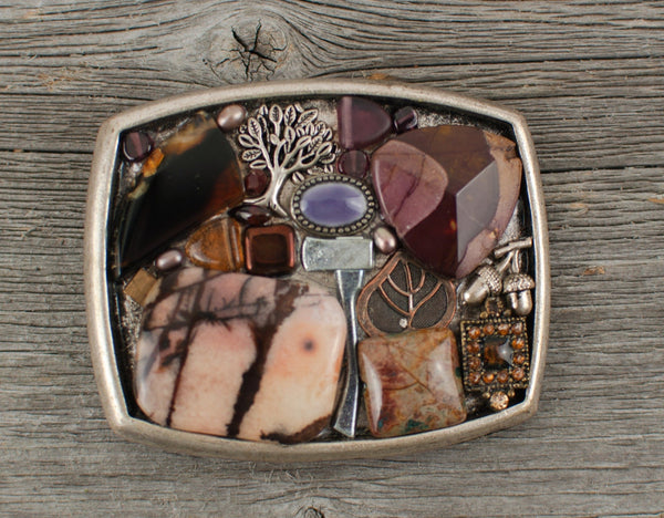 Natural stone tree themed belt buckle on Recycled fire hose strap - Lisa Young Design