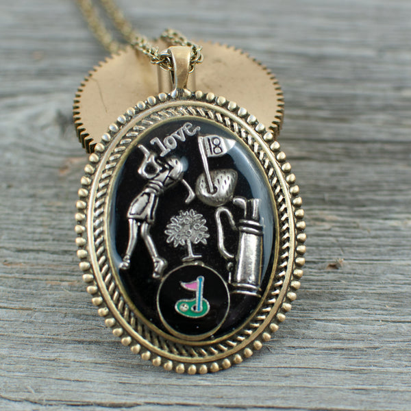 Oval Golf theme necklace - Lisa Young Design