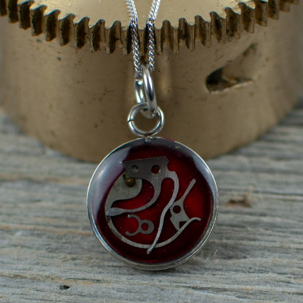 Red Micro watch gear Necklace