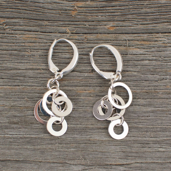 Multi loop dangle sterling silver earrings - Lisa Young Design