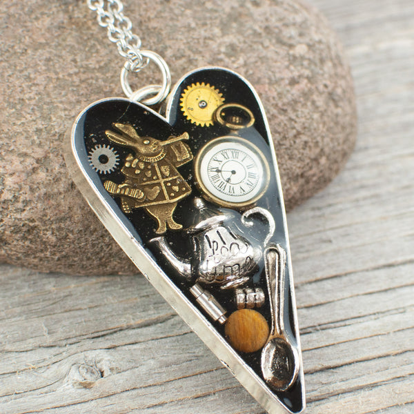Dr Who theme long heart Necklace - Lisa Young Design