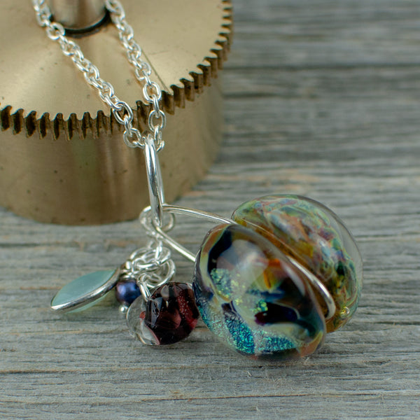 Blue borosilicate glass ball and silver necklace