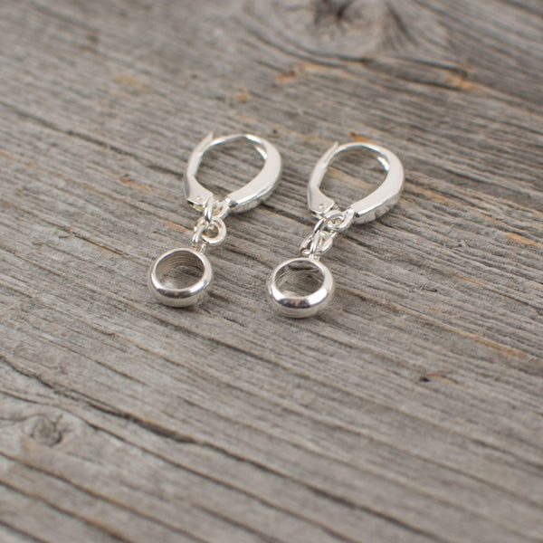 Circle dangle sterling silver earrings - Lisa Young Design
