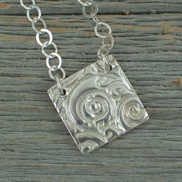 Silver Art Clay Swirl Square Necklace