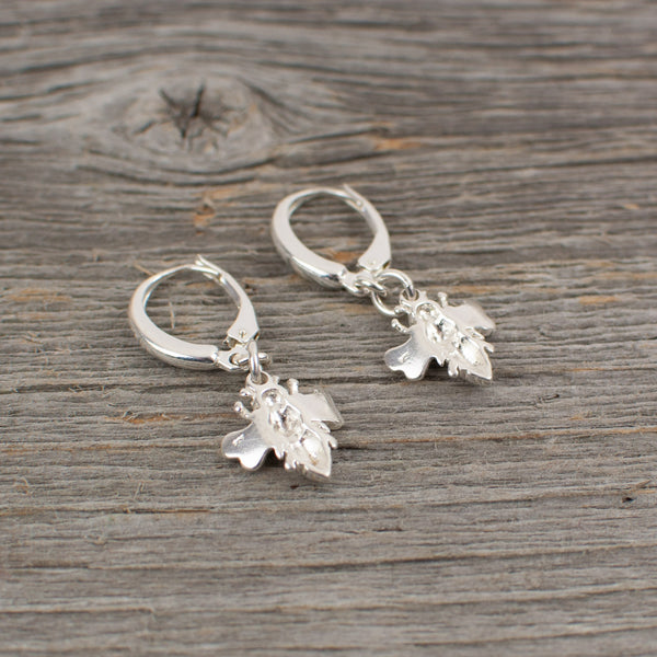 Bee charm  Silver earrings - Lisa Young Design