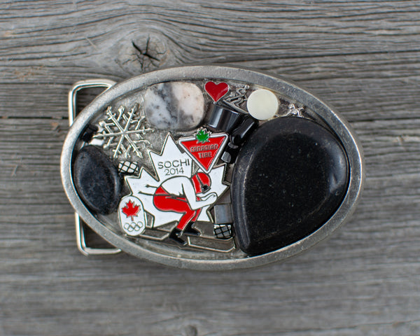 Skier theme Oval Belt Buckle - Lisa Young Design