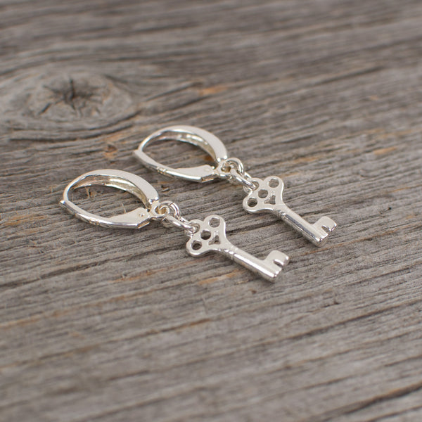 Key charm silver earrings - Lisa Young Design