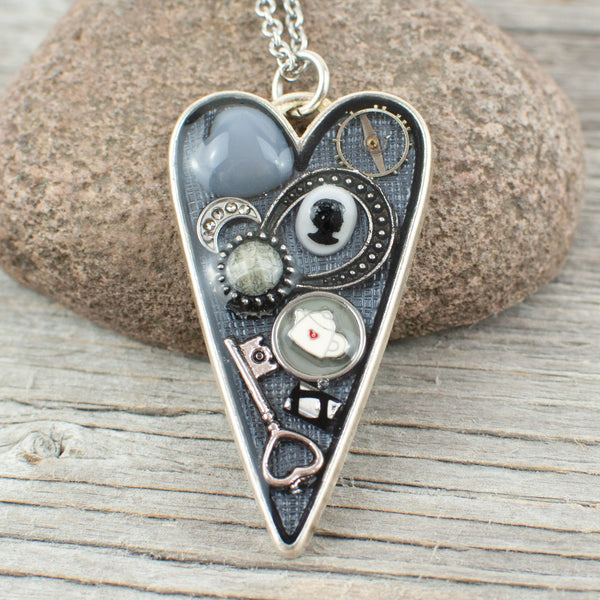 Watch part long heart necklace