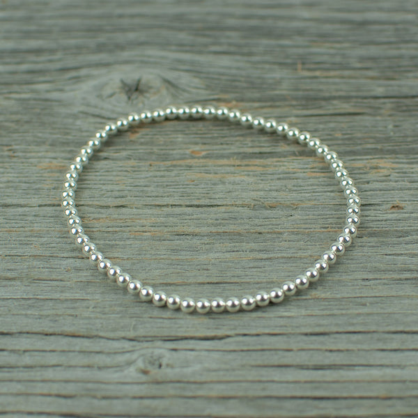 Sterling Silver Bead Bracelet 3mm