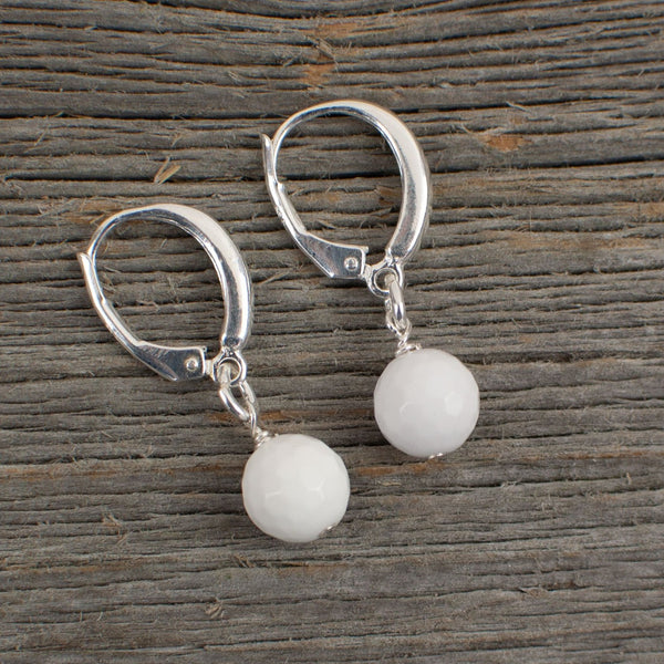 White Agate Golf ball Earrings - Lisa Young Design