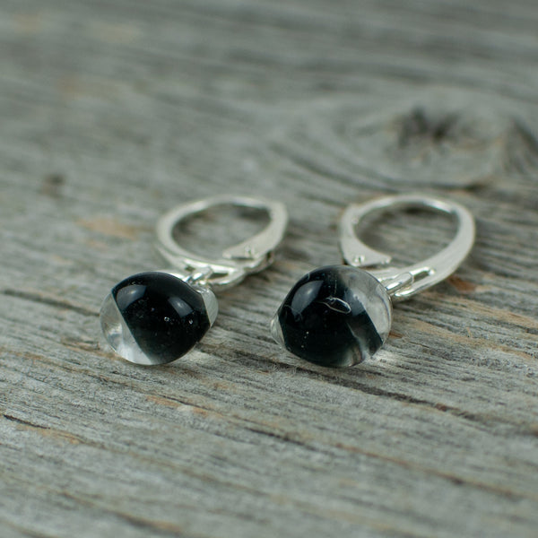 Black borosilicate glass teardrop and silver earrings