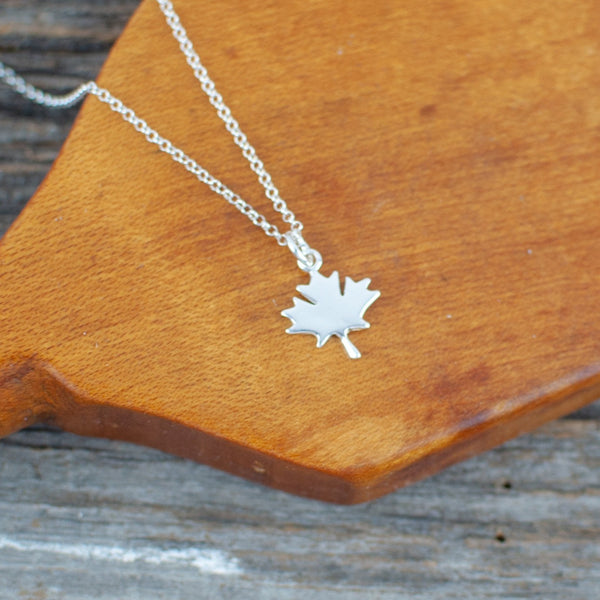 Maple leaf charm  Silver Necklace
